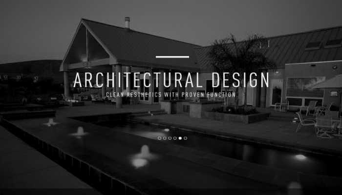 An architecture website Slider Design which resembles a black and White Image of a City Street
