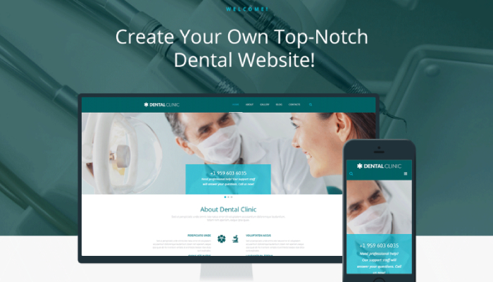 Digital Generated Devices On Desktop Showing Dental Website Template With Text In The Background Representing Dental Website Creation Concept.